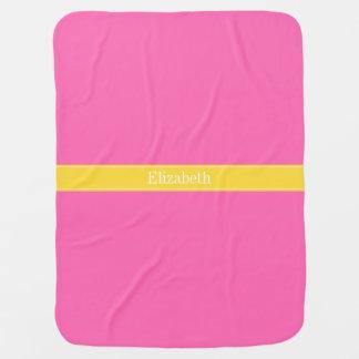 Hot Pink #2, Pineapple Ribbon Name Monogram Stroller Blanket