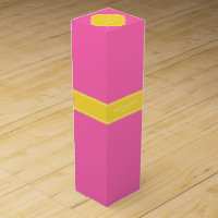 Hot Pink #2, Pineapple Ribbon Name Monogram Wine Box