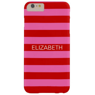 Hot Pink #2, Red Horiz Preppy Stripe Name Monogram Barely There iPhone 6 Plus Case