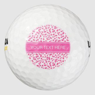 Hot Pink 2 Stars White BG, Hot Pink Name Monogram Golf Balls
