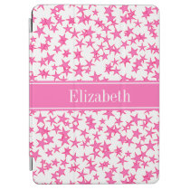 Hot Pink 2 Stars White BG, Hot Pink Name Monogram iPad Air Cover  at Zazzle