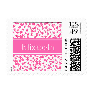 Hot Pink 2 Stars White BG, Hot Pink Name Monogram Postage