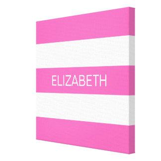 Hot Pink #2 White Horiz Preppy Stripe #3 Monogram Canvas Print