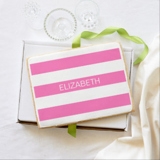 Hot Pink #2 White Horiz Preppy Stripe #3 Monogram Shortbread Cookie