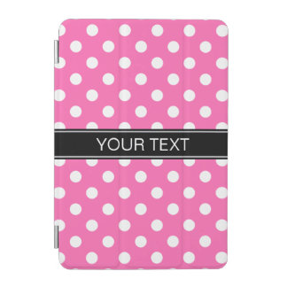 Hot Pink #2 White Polka Dots #2 Black Monogram iPad Mini Cover