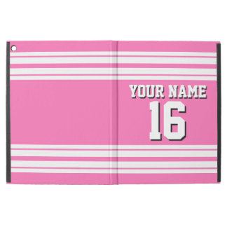 "Hot Pink #2 White Team Jersey Custom Number Name iPad Pro 12.9"" Case"