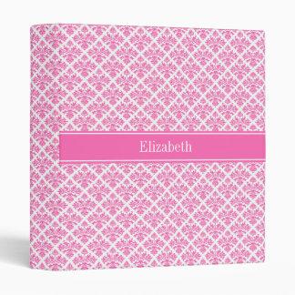 Hot Pink 2 Wht Damask #3 Hot Pink Name Monogram Binder