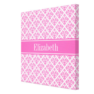 Hot Pink 2 Wht Damask #3 Hot Pink Name Monogram Canvas Print