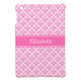 Hot Pink 2 Wht Damask #3 Hot Pink Name Monogram iPad Mini Case