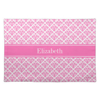 Hot Pink 2 Wht Damask #3 Hot Pink Name Monogram Placemat