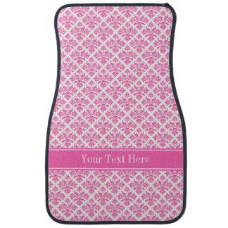 Hot Pink 2 Wht Damask #3 Hot Pink Name Monogram Floor Mat