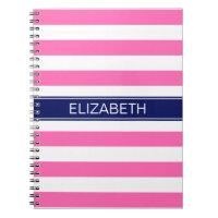 Hot Pink #2  Wht Horiz Stripe Navy Name Monogram Notebook