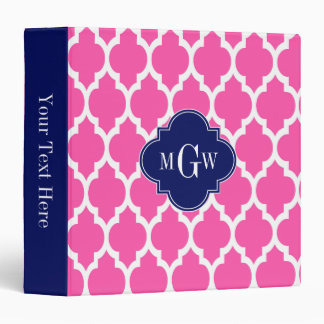 Hot Pink #2 Wht Moroccan #4 Navy Name Monogram 3 Ring Binder
