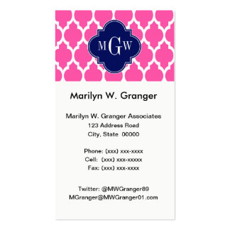 Hot Pink #2 Wht Moroccan #4 Navy Name Monogram Business Card
