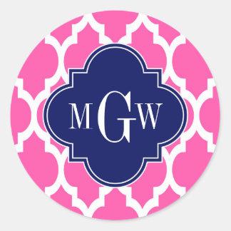 Hot Pink #2 Wht Moroccan #4 Navy Name Monogram Classic Round Sticker