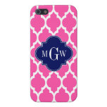 Hot Pink #2 Wht Moroccan #4 Navy Name Monogram iPhone 5/5S Cover