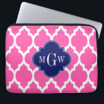 """Hot Pink #2 Wht Moroccan #4 Navy Name Monogram Laptop Sleeve<br><div class=""""desc"""">Hot Pink #2 and White Moroccan Quatrefoil Trellis Pattern #4, Navy Blue Quatrefoil 3 Initial Monogram Customize this with your 3 initial monogram, name or other text. You can also change the font, adjust the font size and font color, move the text to adjust letter spacing, etc. Please note that...</div>"""