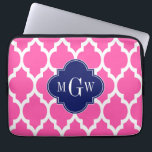 "Hot Pink #2 Wht Moroccan #4 Navy Name Monogram Laptop Sleeve<br><div class=""desc"">Hot Pink #2 and White Moroccan Quatrefoil Trellis Pattern #4, Navy Blue Quatrefoil 3 Initial Monogram Customize this with your 3 initial monogram, name or other text. You can also change the font, adjust the font size and font color, move the text to adjust letter spacing, etc. Please note that...</div>"