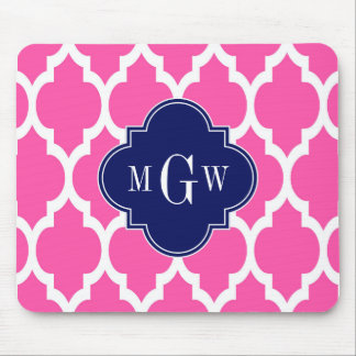 Hot Pink #2 Wht Moroccan #4 Navy Name Monogram Mouse Pad