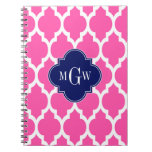 Hot Pink #2 Wht Moroccan #4 Navy Name Monogram Spiral Note Books