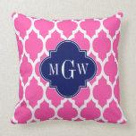 Hot Pink #2 Wht Moroccan #4 Navy Name Monogram Pillows