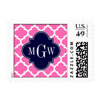 Hot Pink #2 Wht Moroccan #4 Navy Name Monogram Postage