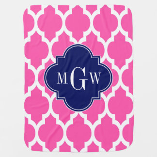 Hot Pink #2 Wht Moroccan #4 Navy Name Monogram Receiving Blanket
