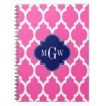 Hot Pink #2 Wht Moroccan #4 Navy Name Monogram Spiral Notebook