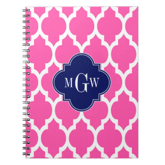 Hot Pink #2 Wht Moroccan #4 Navy Name Monogram Spiral Notebook