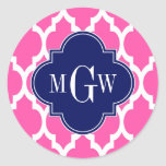 Hot Pink #2 Wht Moroccan #4 Navy Name Monogram Sticker