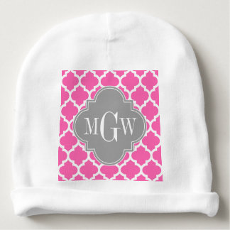 Hot Pink #2 Wht Moroccan #5 Dk Gray Name Monogram Baby Beanie