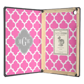 Hot Pink #2 Wht Moroccan #5 Dk Gray Name Monogram iPad Air Cases