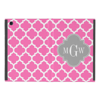 Hot Pink #2 Wht Moroccan #5 Dk Gray Name Monogram Covers For iPad Mini