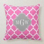 Hot Pink #2 Wht Moroccan #5 Dk Gray Name Monogram Pillow