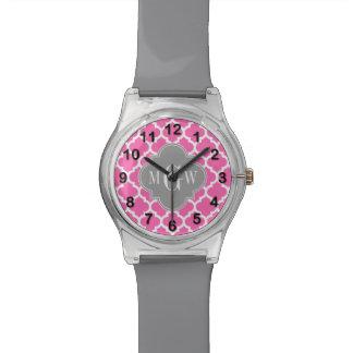 Hot Pink #2 Wht Moroccan #5 Dk Gray Name Monogram Wrist Watches