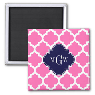Hot Pink#2 Wht Moroccan #5 Navy 3 Initial Monogram 2 Inch Square Magnet