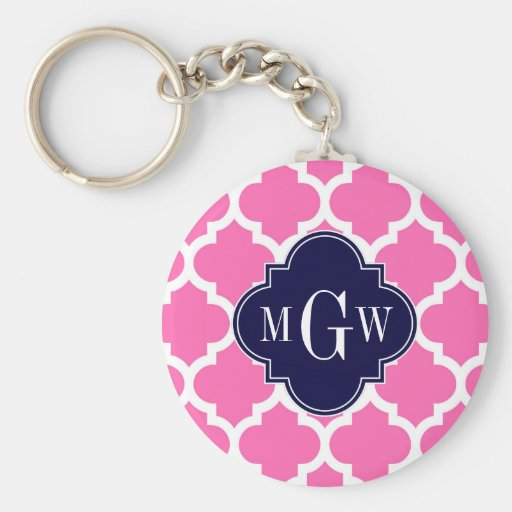Hot Pink#2 Wht Moroccan #5 Navy 3 Initial Monogram Basic Round Button Keychain