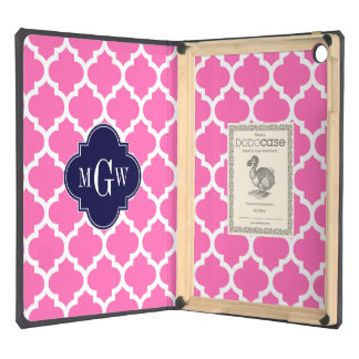 Hot Pink#2 Wht Moroccan #5 Navy 3 Initial Monogram iPad Air Case