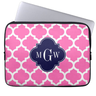 Hot Pink#2 Wht Moroccan #5 Navy 3 Initial Monogram Computer Sleeve