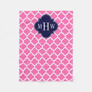 Hot Pink#2 Wht Moroccan #5 Navy 3 Initial Monogram Fleece Blanket
