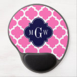 Hot Pink#2 Wht Moroccan #5 Navy 3 Initial Monogram Gel Mouse Pad