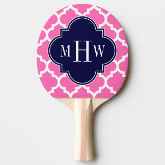 Hot Pink#2 Wht Moroccan #5 Navy 3 Initial Monogram Ping-Pong Paddle
