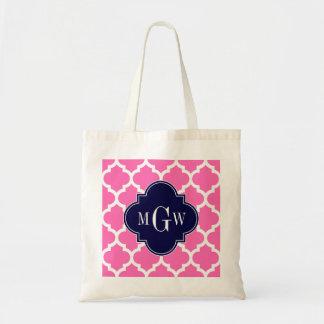 Hot Pink#2 Wht Moroccan #5 Navy 3 Initial Monogram Tote Bag