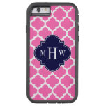 Hot Pink#2 Wht Moroccan #5 Navy 3 Initial Monogram Tough Xtreme iPhone 6 Case