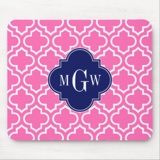 Hot Pink#2 Wht Moroccan #6 Navy 3 Initial Monogram Mouse Pad