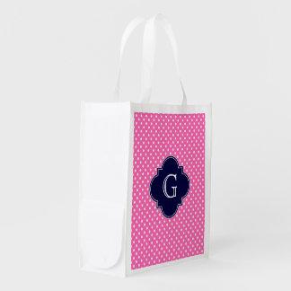 Hot Pink #2 Wht Polka Dot Navy Quatrefoil Monogram Reusable Grocery Bag