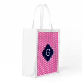 Hot Pink #2 Wht Polka Dot Navy Quatrefoil Monogram Grocery Bags