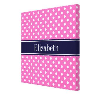Hot Pink #2 Wht Polka Dots Navy Blue Name Monogram Canvas Prints