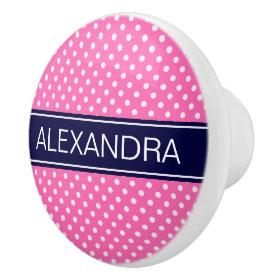 Hot Pink #2 Wht Polka Dots Navy Blue Name Monogram Ceramic Knob