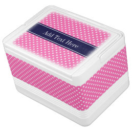 Hot Pink #2 Wht Polka Dots Navy Blue Name Monogram Cooler
